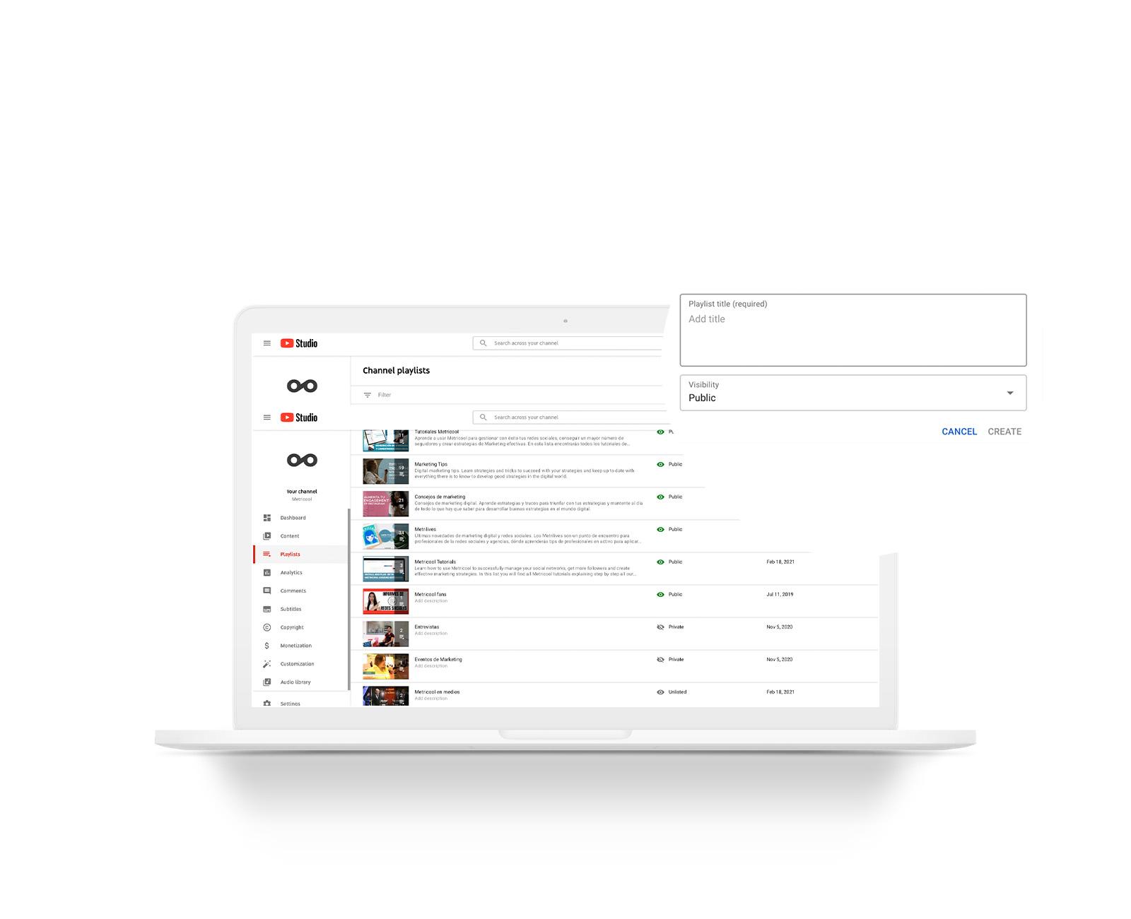 cómo crear lista de reproducción youtube