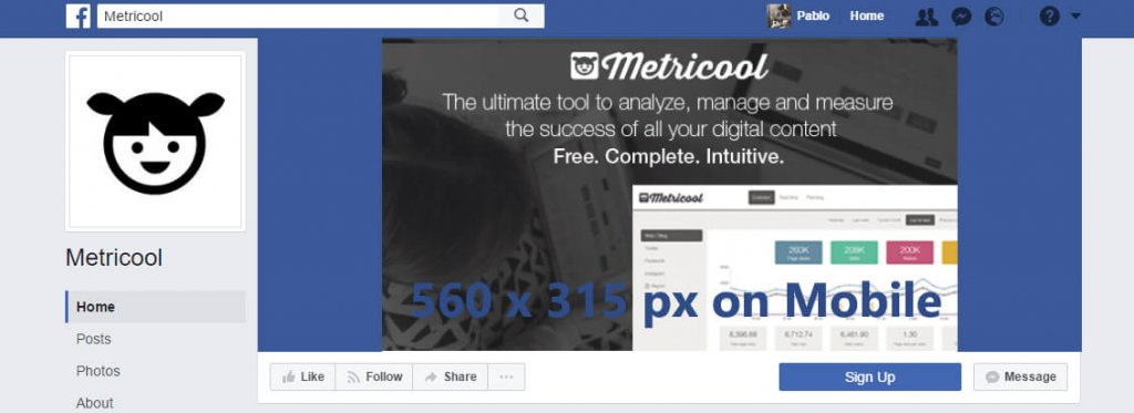 tamaño imagen fun page facebook movil
