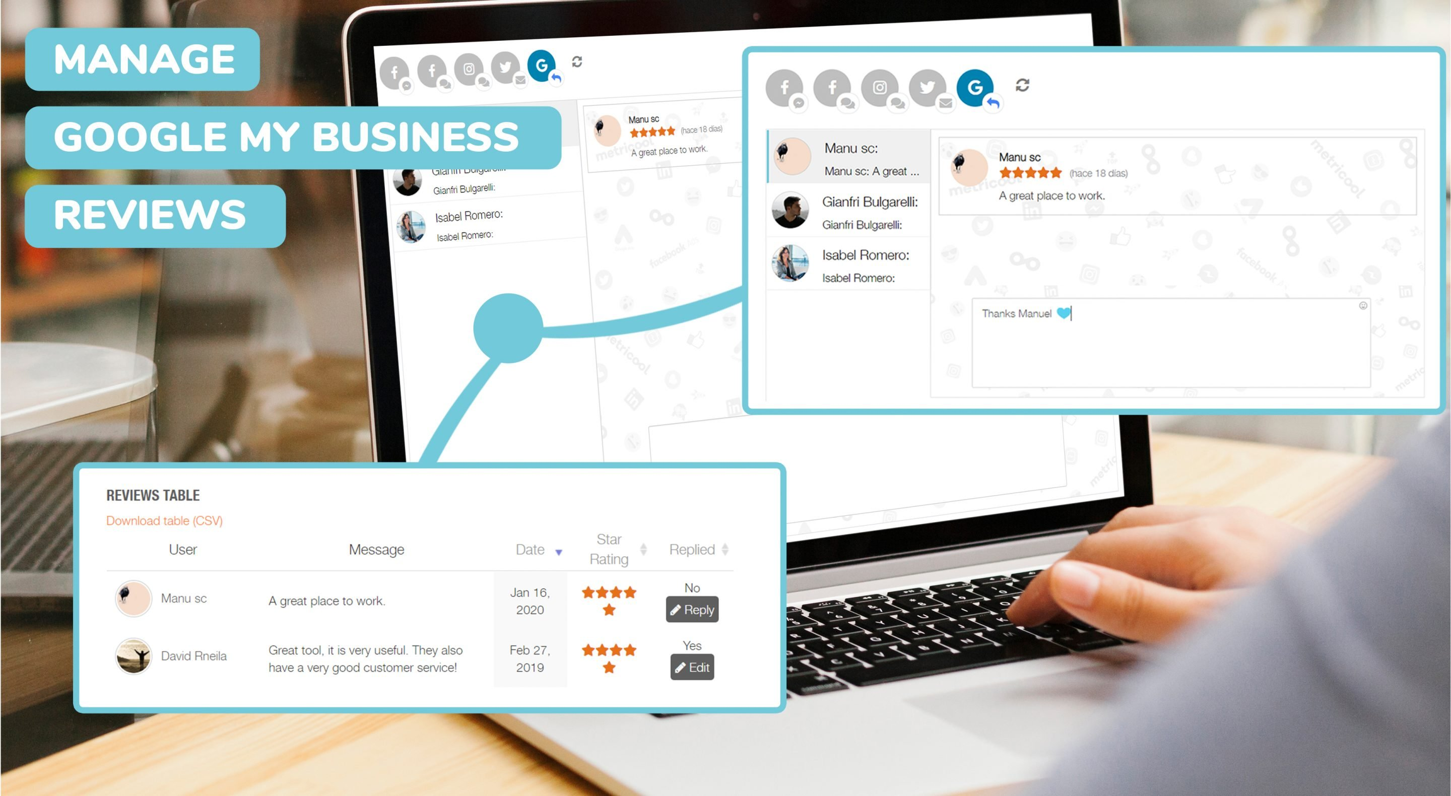 Manage your Google My Business Reviews from Metricool