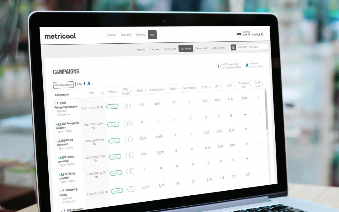 Gestion de tes campagnes publicitaires online avec Metricool