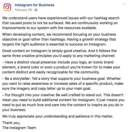 Instagram sobre el shadowban