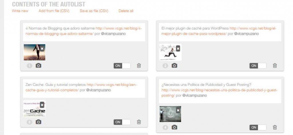 autolist content: social media management