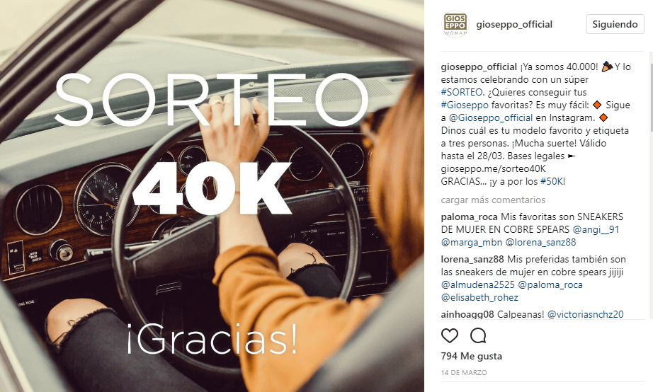 ejemplo sorteo instagram