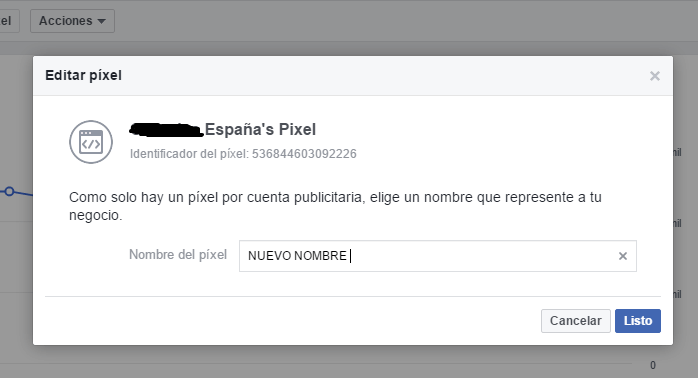editar el pixel de Facebook