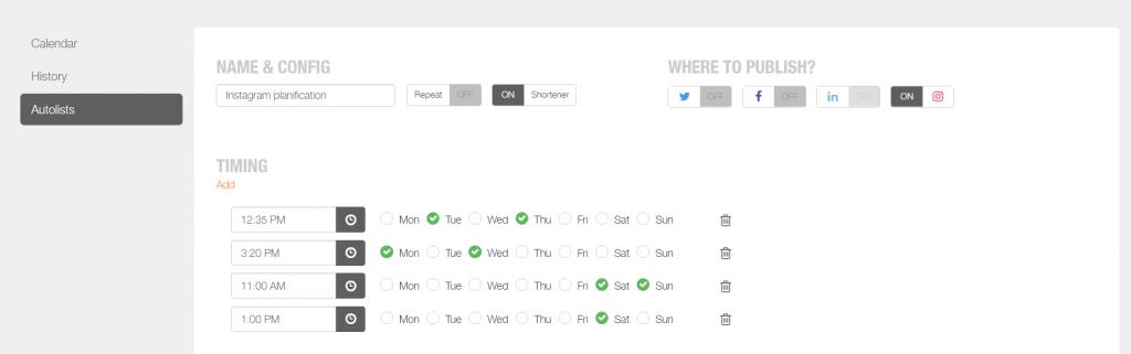 instagram scheduler autolist tool