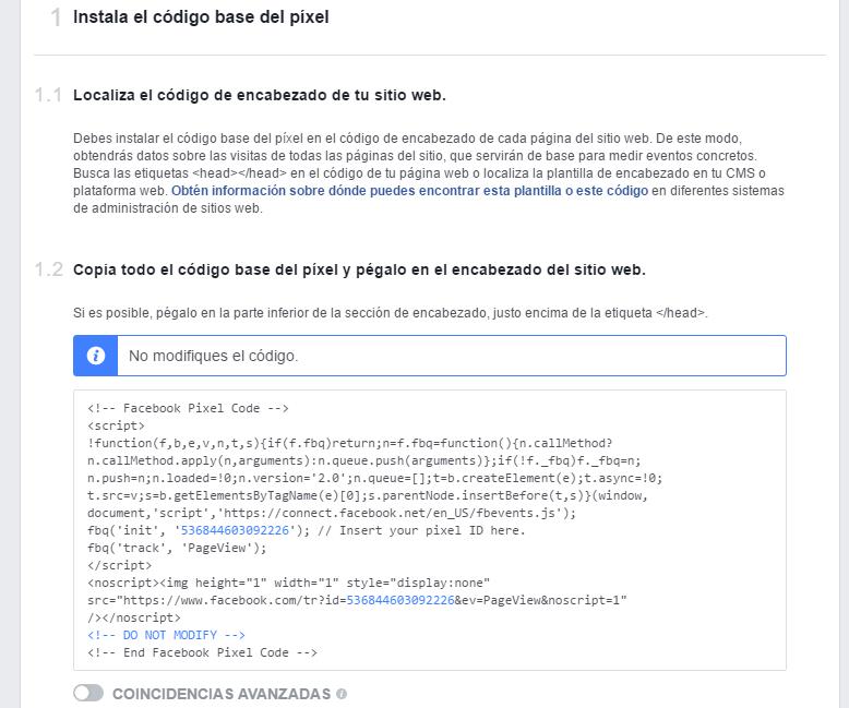 insertar el código del pixel de facebook