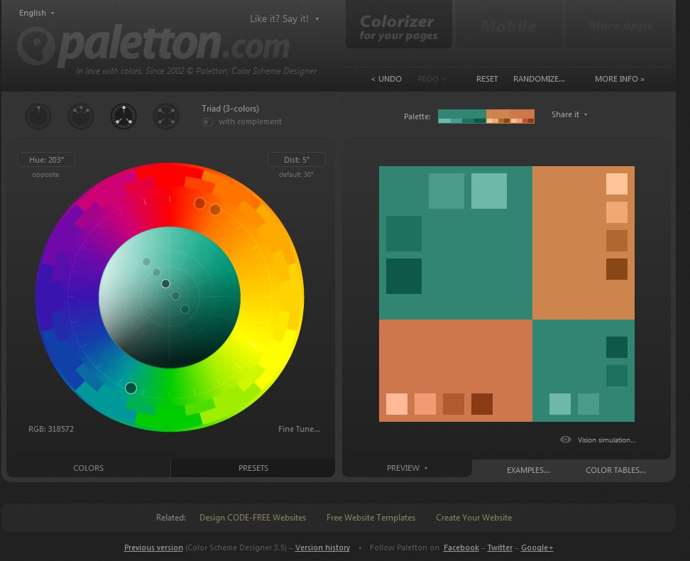 Color Scheme Designer (Paletton.com)